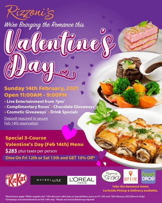 Three Course Valentine's Meal $285.00 per person (Taxes not included)